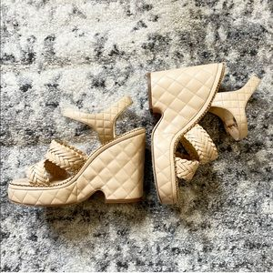 Chanel Beige Quilted Leather Wedge Sandals